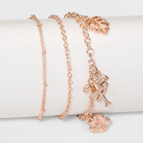Three Piece Set with Leaf, Flower and Flamingo Charm Anklet - Rose Gold - image 1 of 1
