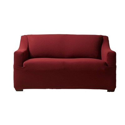 Stretch Modern Mesh Loveseat Slipcover Burgundy - Sure Fit