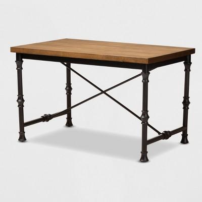 Verdin Wood Finished Criss Cross Desk Bronze - BaxtonStudio