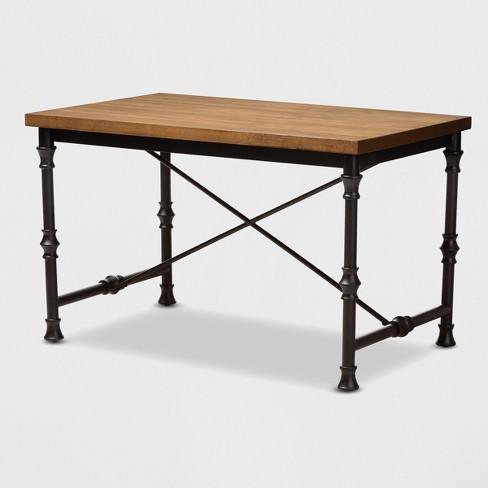 Verdin Wood Finished Criss Cross Desk Bronze - BaxtonStudio - image 1 of 4