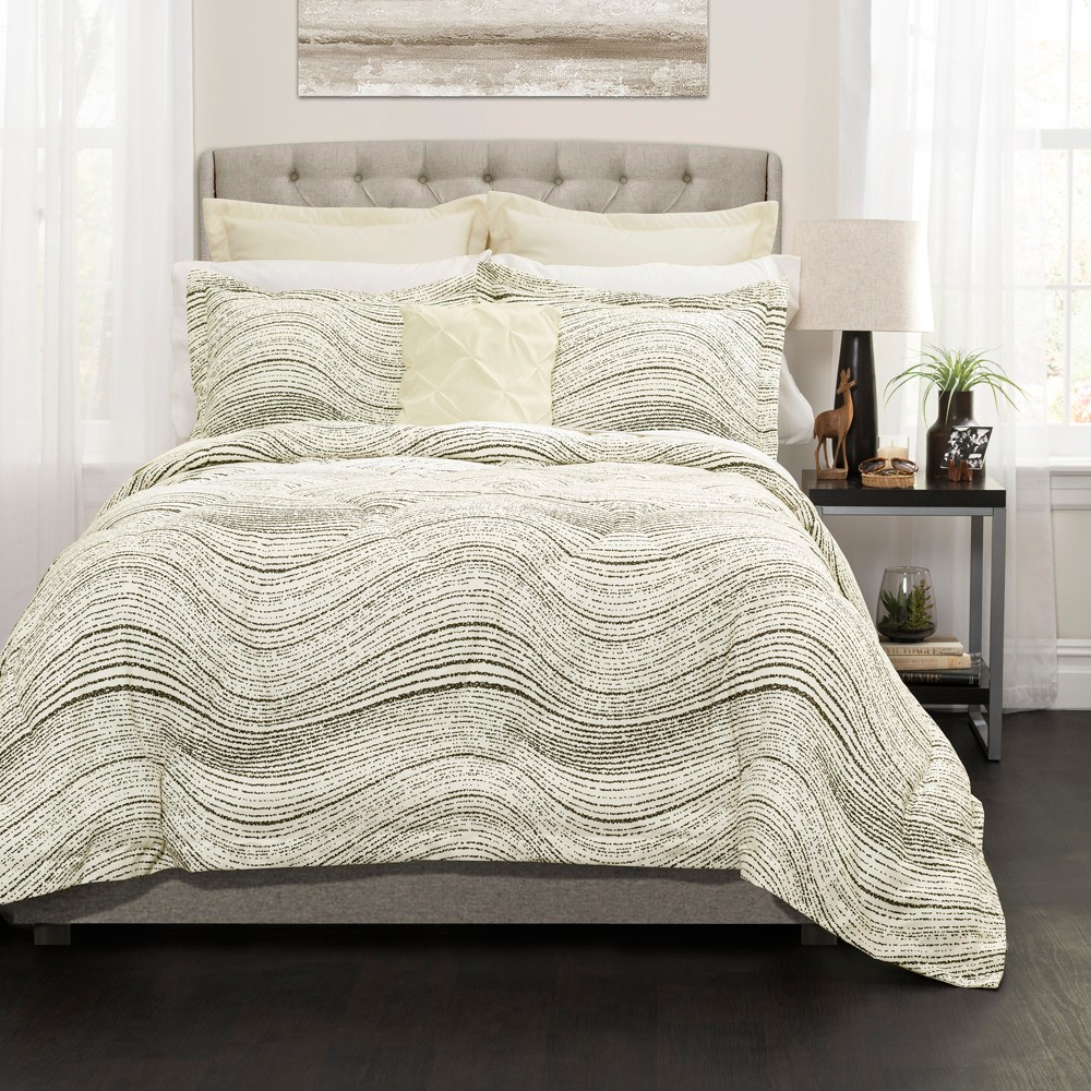 Taupe Pixel Wave Line Comforter Set (Full/Queen) 6pc - Lush Decor, Brown