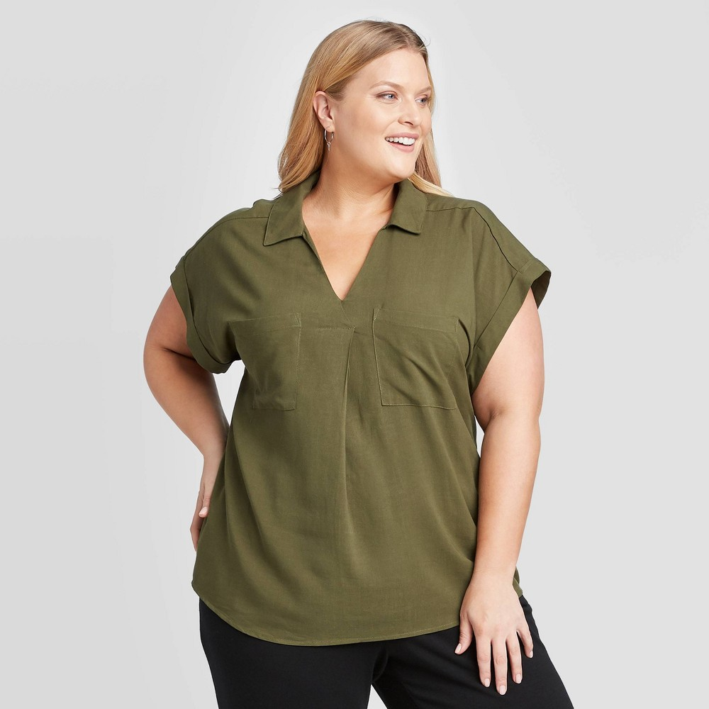 Women's Plus Size Short Sleeve Collared Knit Woven Blouse - Ava & Viv Olive 4X, Women's, Size: 4XL, Green was $22.99 now $16.09 (30.0% off)