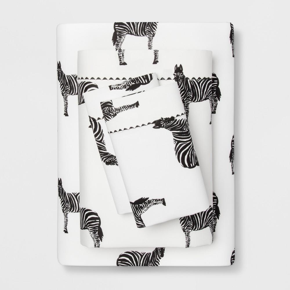 King 400 Thread Count Zebra Print Cotton Performance Sheet Set Black/White - Opalhouse