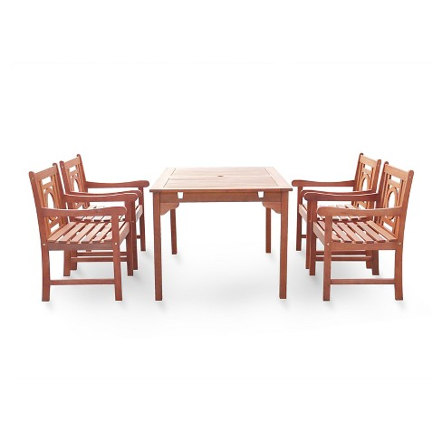 Malibu 5pc Rectangle Hardwood Eco-friendly Outdoor Dining Set - Brown - Vifah - image 1 of 2