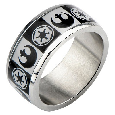 Men's Star Wars Stainless Steel Galactic Empire and Rebel Alliance Symbol Ring