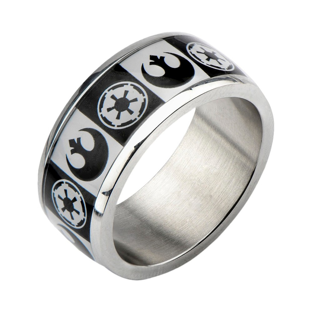Men's Star Wars Stainless Steel Galactic Empire and Rebel Alliance Symbol Ring, Size: 9, Silver