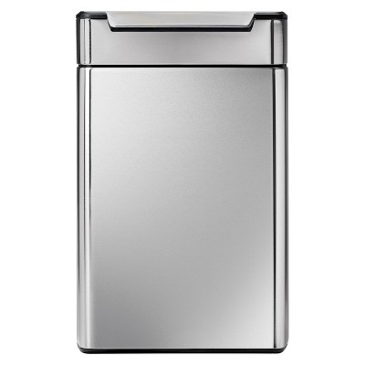 Simplehuman 48 Liter Rectangular Touch-Bar Trash Can - Dual Compartment, Fingerprint-Proof Brushed Stainless Steel