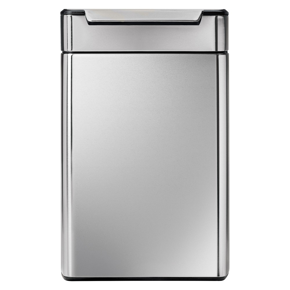 Simplehuman 48 Liter Rectangular Touch-Bar Trash Can - Dual Compartment, Fingerprint-Proof Brushed Stainless Steel, Silver