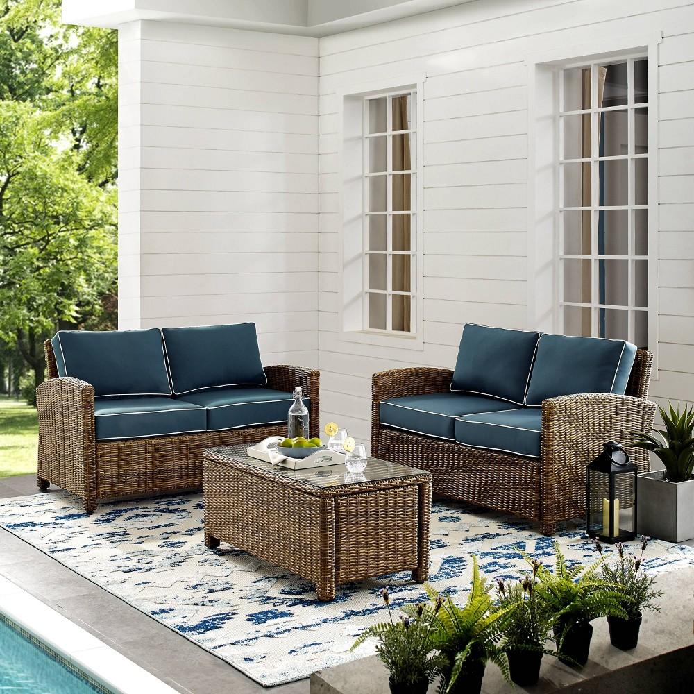 3pc Bradenton Outdoor Loveseat Wicker Seat Set with Navy Cushions Brown - Crosley