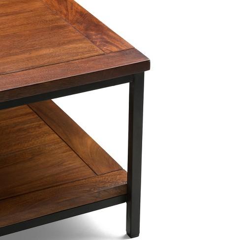 Rhonda Solid Mango Wood Square Coffee Table Dark Cognac Brown