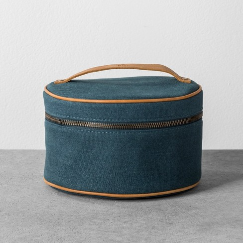 Cosmetic Bag Canvas Blue Hearth Hand With Magnolia