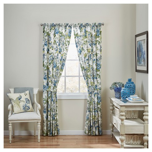 Waverly Curtain Panel Pair Blue/White/Yellow Floral - Room Essentials™ - image 1 of 2