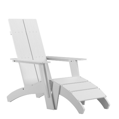 Flash Furniture Sawyer Modern All-Weather Poly Resin Wood Adirondack Chair with Foot Rest