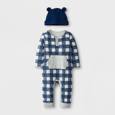 Baby Boys' 2pc Romper & Hat Set - Cloud Island™ Heather Newborn