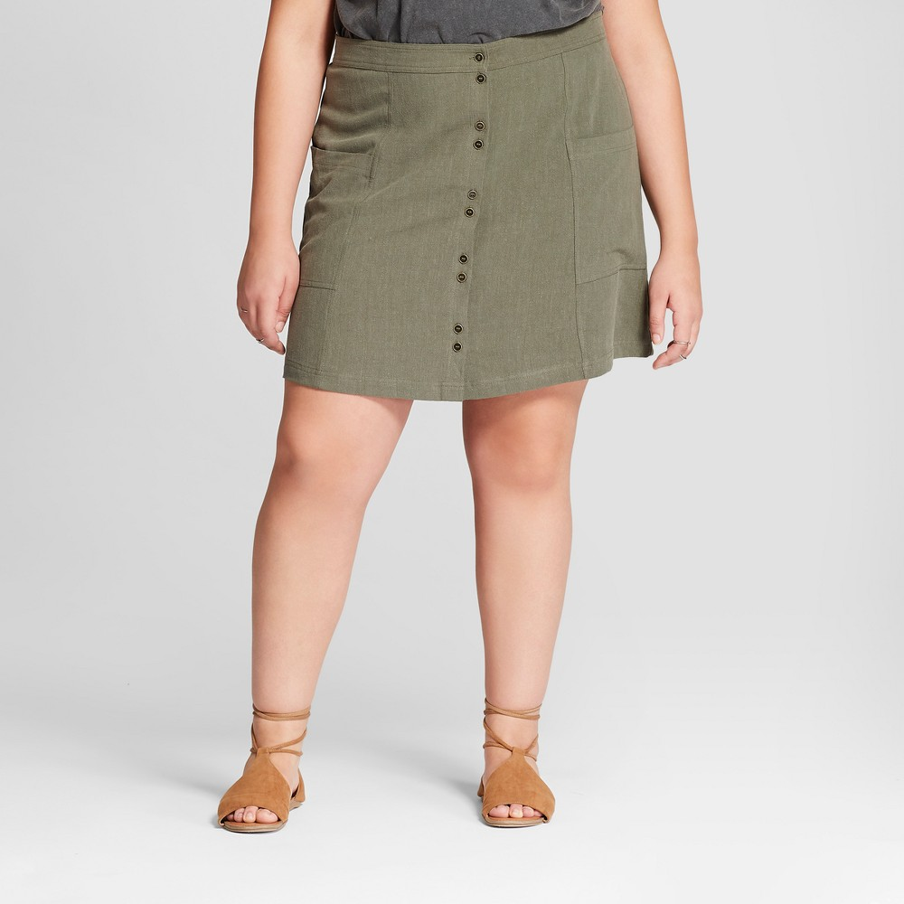 Women's Plus Size Button Front Mini Skirt - Universal Thread Olive 4X, Green