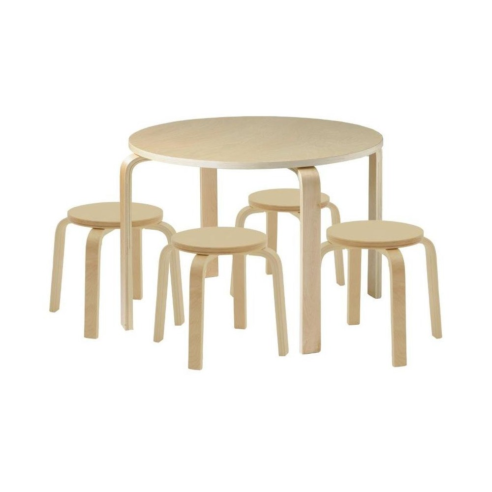 ECR4Kids Bentwood Table and Stools Set Natural