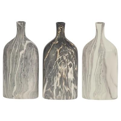 Ceramic Bottle Vases Gray/Cream 13  3pk - Olivia & May