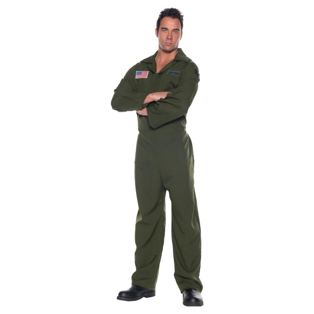 Men's Airforce Jumpsuit Costume One Size, Black