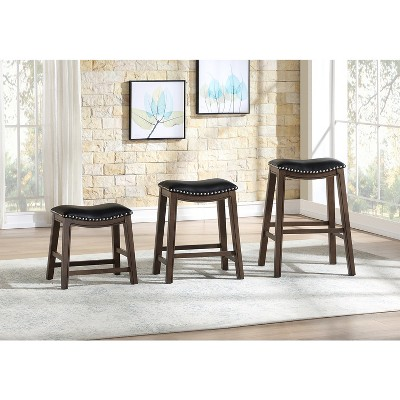 Homelegance 24-Inch Counter Height Wooden Bar Stool With Solid Wood Legs And Faux Leather Saddle Seat Kitchen Barstool Dinning Chair, Brown And Black : Target