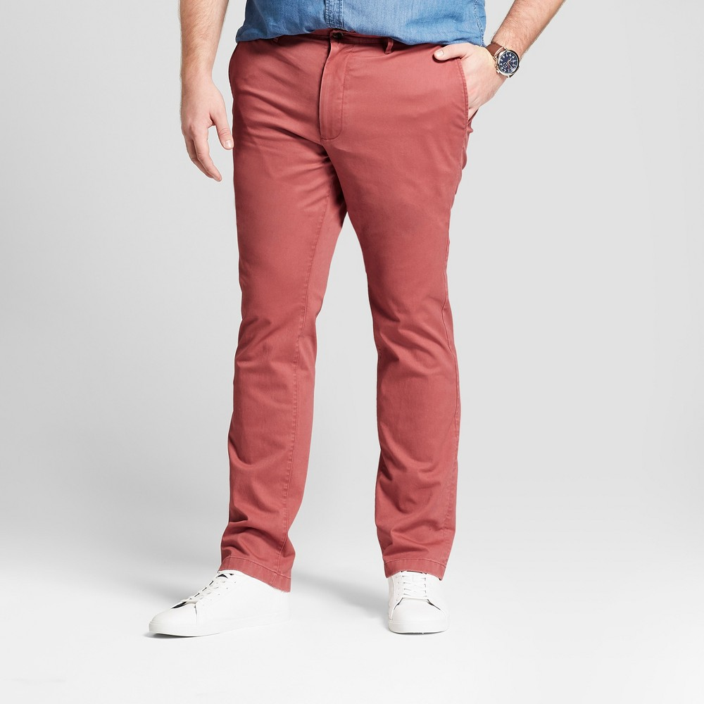 Men's Big & Tall Slim Fit Hennepin Chino Pants - Goodfellow & Co Dusty Red 58X32
