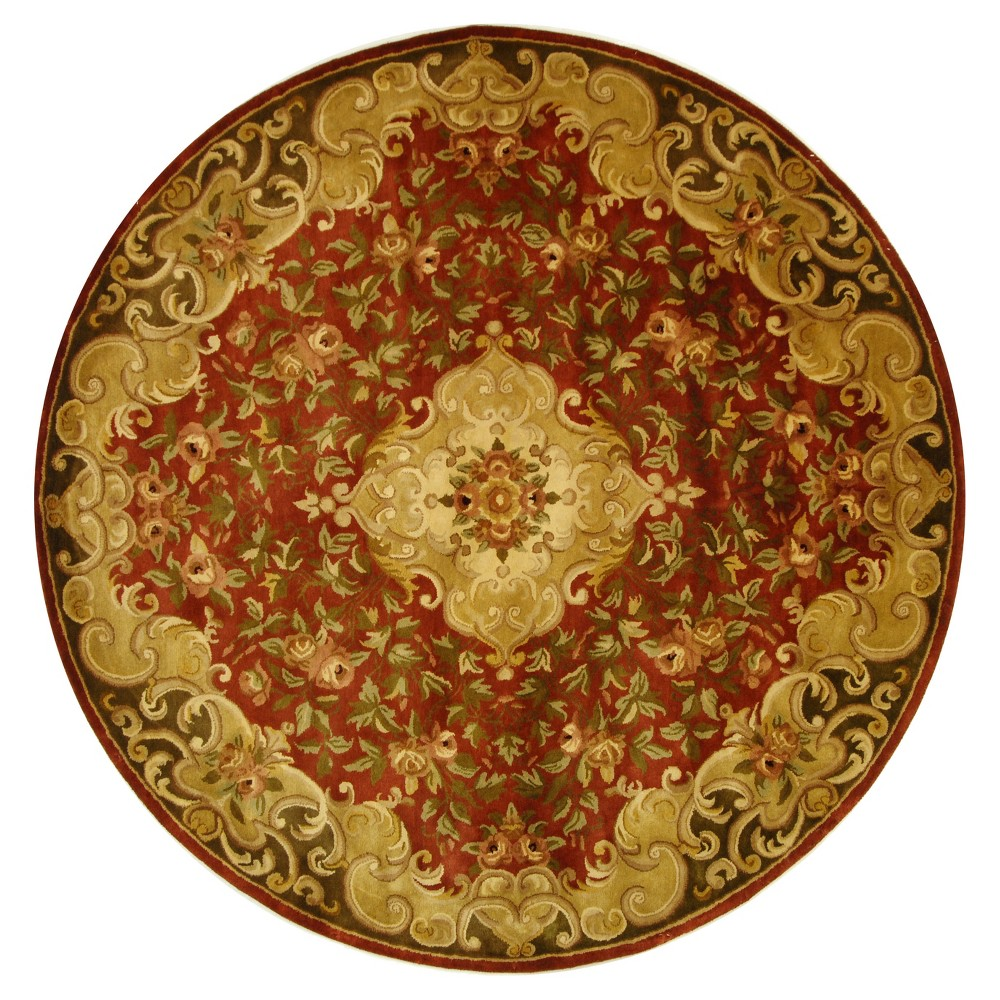 Rust/Green Abstract Tufted Round Area Rug - (8' Round) - Safavieh, Red/Green