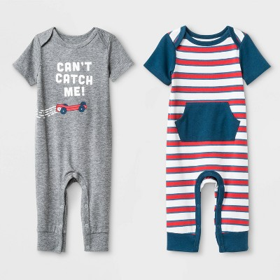 Baby Boys' Jersey Short Sleeve Lap Romper Set - Cat & Jack™ Heather Gray/White 0-3M