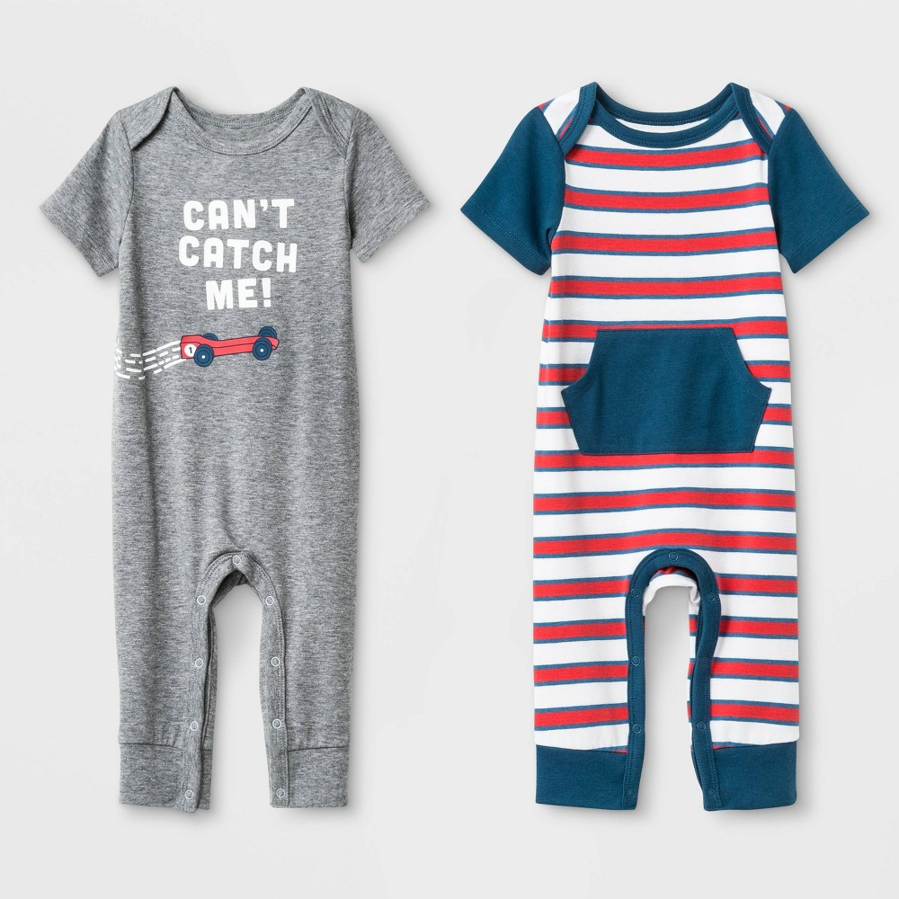 Baby Boys' Jersey Short Sleeve Lap Romper Set - Cat & Jack Heather Gray/White 0-3M