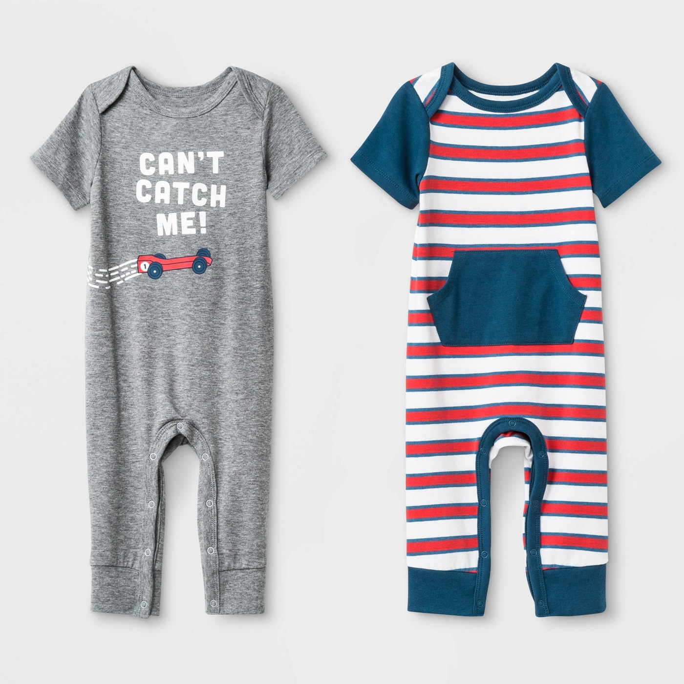 Baby Boys' Jersey Short Sleeve Lap Romper Set - Cat & Jack™ Heather Gray/White/Blue - image 1 of 2