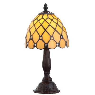 "12.5"" Campbell Tiffany Style Table Lamp (Includes LED Light Bulb) Bronze - JONATHAN Y"