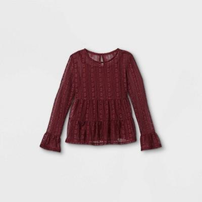 Girls' Lace Peplum Long Sleeve Top with Cami - art class™