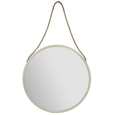 "30"" Metal Wall Mirror with Rustic Hanging Rope White - Gallery Solutions"