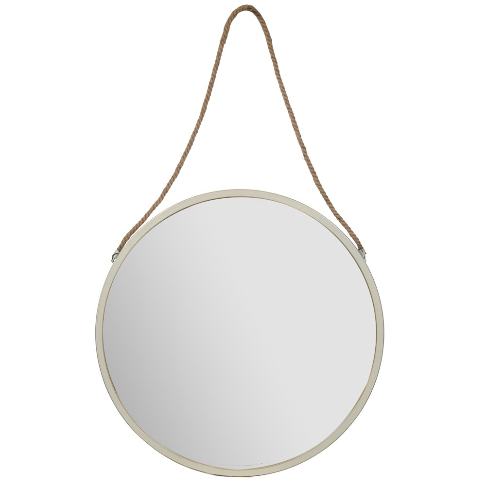 30 Metal Wall Mirror with Rustic Hanging Rope White - Gallery Solutions