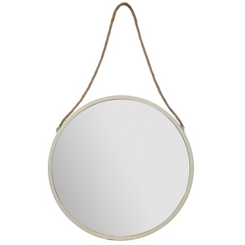 30 Metal Wall Mirror With Rustic Hanging Rope White Gallery