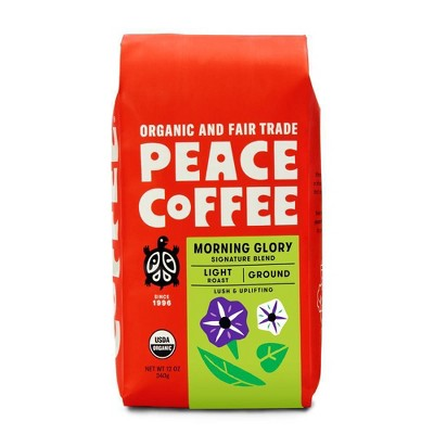 Peace Coffee Peace Tree Morning Glory Light Roast Ground Coffee - 12oz