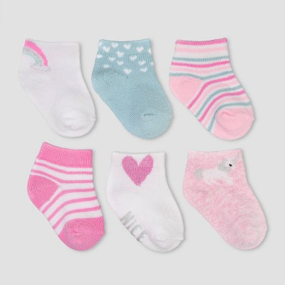Baby Girls' 6pk Unicorn Ankle Socks Casual socks - Just One You® made by carter's Pink 0-3M