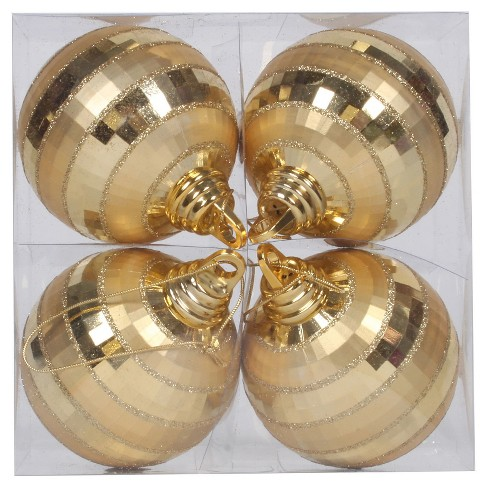 4ct Gold Shiny/Matte Mirrored Ball Christmas Ornament Set - image 1 of 1