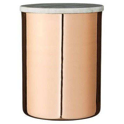 Metal Jar with Copper Finish & Gray Marble Lid - 3R Studios®