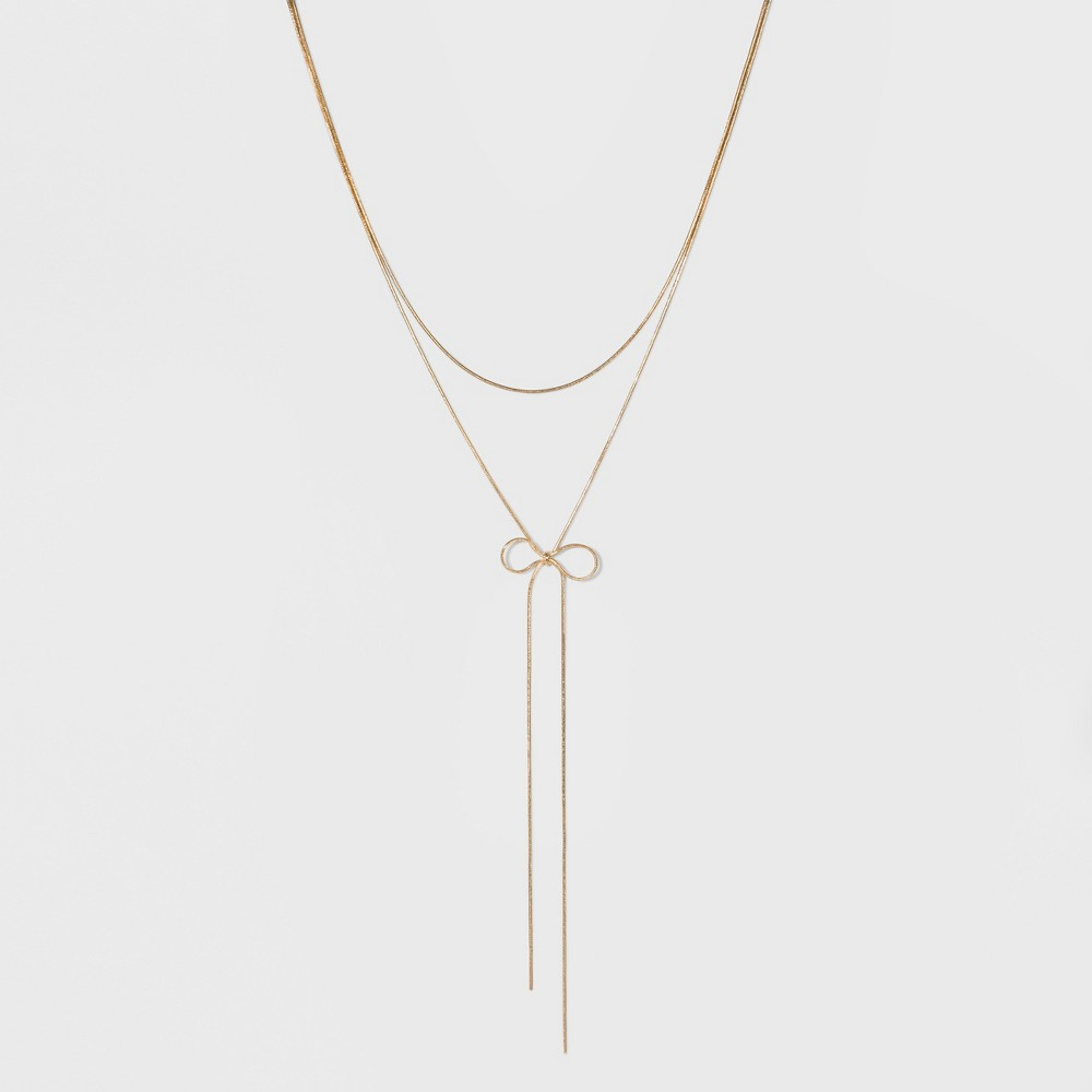 Sugarfix by BaubleBar Lariat Necklace with Bow - Gold, Girl's