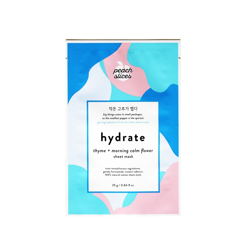 Image of peach slices Hydrate Face Sheet Mask - Thyme + Morning Calm Flower - 0.84 fl oz