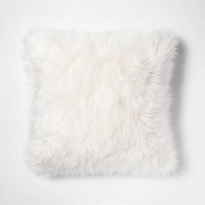 Mongolian Faux Fur Square Pillow White - Project 62™