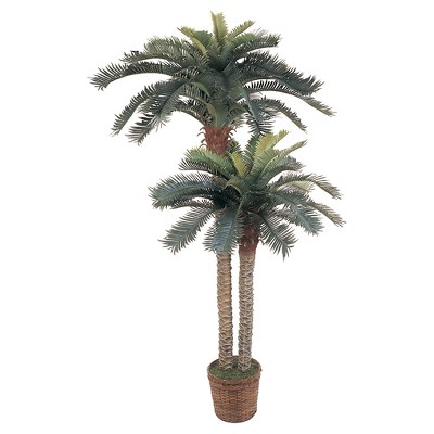 """Nearly Natural Sago Palm Double Potted Silk Tree (6""""/4"""")"""