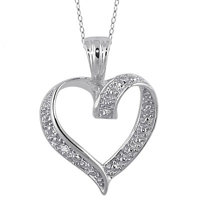 "Women's Sterling Silver Round-Cut White Diamond Pave Set Heart Pendant (18"")"