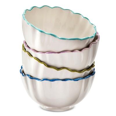 Isabella Ruffle 23oz Bowls White - Set of 4