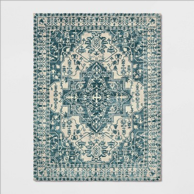 9'X12' Pavoria Vintage Persian Tufted Medallion Rug Blue - Opalhouse™