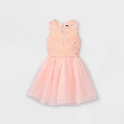 Zenzi Girls' Lace Bodice Tulle Dress - Blush Pink