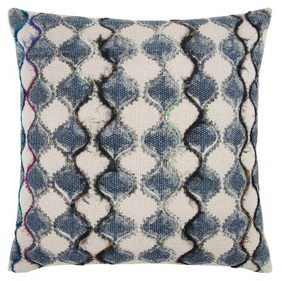 """20""""x20"""" Oversize Ogee Square Throw Pillow Cover Blue - Rizzy Home"""