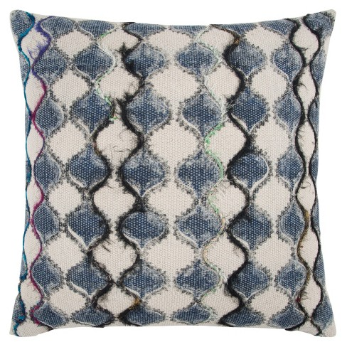 """20""""x20"""" Oversize Ogee Square Throw Pillow Cover Blue - Rizzy Home - image 1 of 4"""