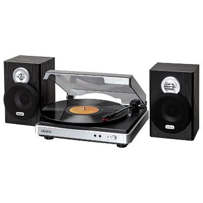 JENSEN 3-Speed Stereo Turntable with Separate Speakers - Black (JTA-325)