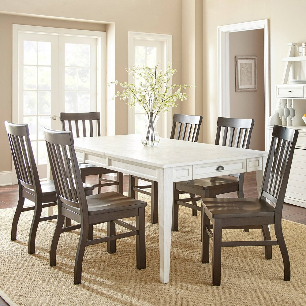Low Price 7pc Cayla Dining Set WhiteBrown Steve Silver