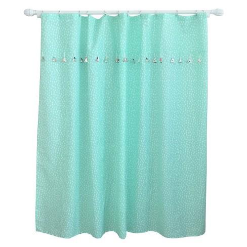 Tassel Shower Curtain Aqua Pool